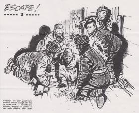 'Escape!' by Eric Parker. Illustration to article detailing Pte Baine's escape.