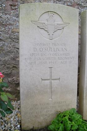 Headstone of Pte D O'Sullivan, Herouvillette Cemetery, October 2010.