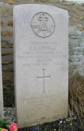 Headstone of Pte Edward George, Herouvillette Cemetery, October 2010.