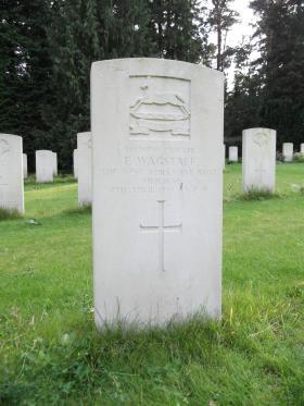 Headstone of Pte E Wagstaff, Becklingen War Cemetery, August 2011.