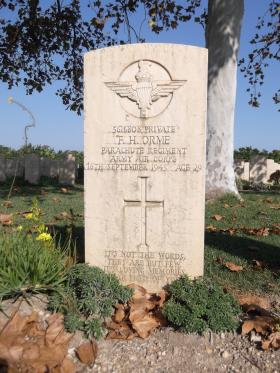 Headstone of Pte FH Orme, Bari War Cemetery, November 2011.