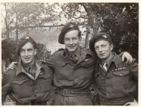 Pte F Shedd, left, with pals of the 3rd Battalion, 1945.