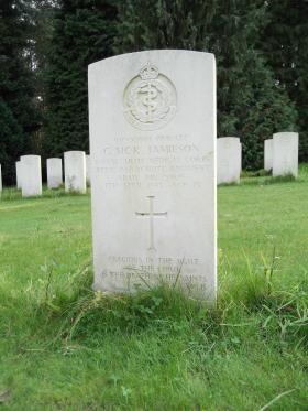 Headstone of Pte George Jamieson, Becklingen War Cemetery, 2011.