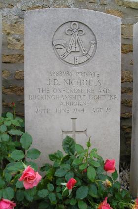 Headstone of Pte J Nicholls, Herouvillette Cemetery, October 2010.