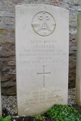 Headstone of Pte J Starr, Herouvillette Cemetery, October 2010.