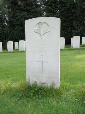 Headstone of Pte JG Jones, Becklingen War Cemetery, August 2011.