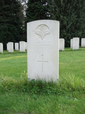 Headstone of Pte JM Saunders, Becklingen War Cemetery, August 2011.