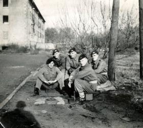 Cpl J R Logan with friends, Germany 1948.