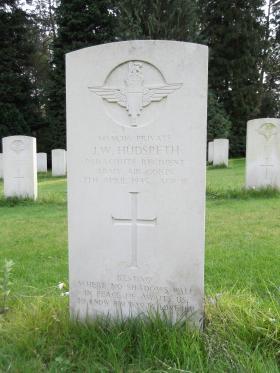 Headstone of Pte JW Hudspeth, Becklingen War Cemetery, August 2011.