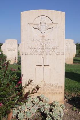 Headstone of Pte P Jones, Bari War Cemetery, November 2011.