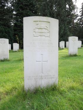 Headstone of Pte PR Jefferson, Becklingen War Cemetery, August 2011.
