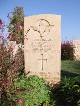 Headstone of Pte R Cresswell, Bari War Cemetery, November 2011.