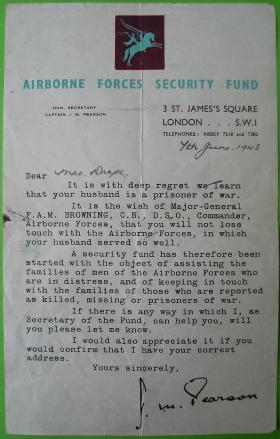 Correspondence from Airborne Security Fund to Mrs Lily Drape 1943