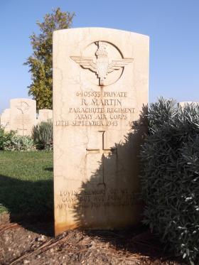 Headstone of Pte Raymond Martin, Bari War Cemetery, November 2011.