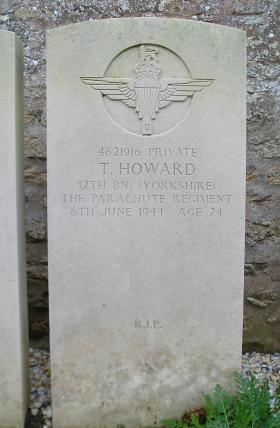 Headstone of Pte T Howard, Herouvillette Cemetery, October 2010.