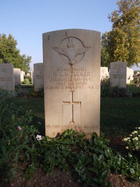Headstone of Pte William Tucker, Bari War Cemetery, November 2011.