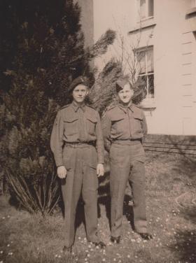 A photo of 'Daniel' Jones, left with his brother Brynmor, taken in Swansea, c April 1943.