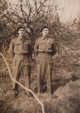 A photo of 'Daniel' Jones, right, with his cousin, Gordon Hewitt, circa April 1943.