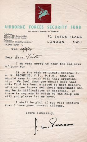 A letter from Captain Pearson to Mrs Frith, August 1944.