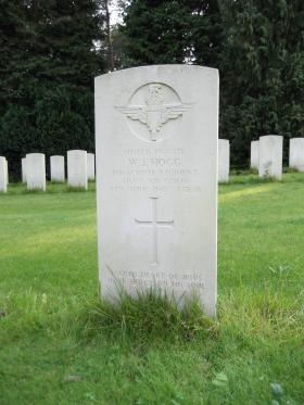 Headstone of Pte WJ Hogg, Becklingen War Cemetery, August 2011.