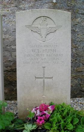 Headstone of Pte W Huish, Herouvillette Cemetery, October 2010.