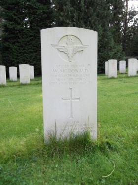Headstone of Pte W McDonald, Becklingen War Cemetery, August 2011.