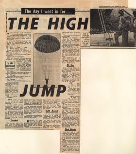 Newspaper report on para training of members of 629 Airborne Regt TA at RAF Abingdon 1955
