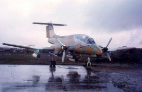 Argentinian Pucara A-527 the day after the surrender at Stanley Airfield, Falkland Islands, 1982.