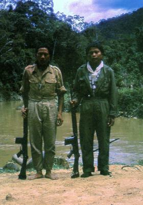 Punan villagers, possibly irregular border scouts, Borneo, 1965.