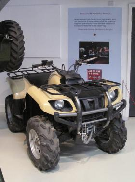 A Yamaha Grizzly 450 Quad All Terrain vehicle on display at Airborne Assault, Duxford, Jan 2015.