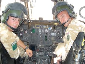 Pte Smith and LCpl Muller swapping patrolling for piloting a Chinook for the day, Camp Bastion 2006