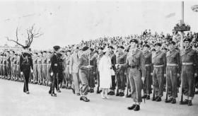 HM The Queen inspecting 17th Battalion, 1960.