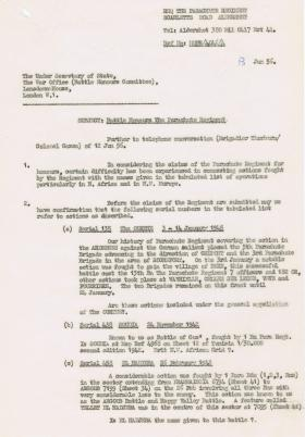 Query regarding Battle Honours particularly N Africa and NW Europe, 13 January 1956