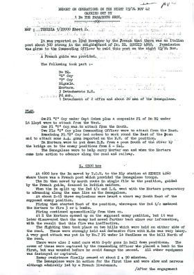 Report on Operations Night by 1st Parachute Battalion, November 1942