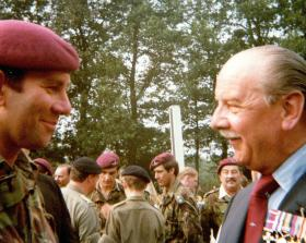 Lt-Col Richard Lonsdale at Oosterbeek Cemetery, 1980.