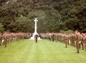 Lt-Col Richard Lonsdale lays a wreath at Oosterbeek Cemetery, 1980.