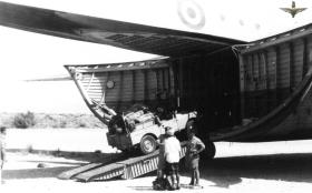 Landrover being unloaded from a Beverley, Radfan, 1957
