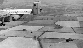 Parachuting from a Blackburn Beverley Aircraft, over RAF Abingdon, 1960s.