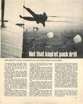 Article about parachute training course at RAF Henlow in the mid-1920s.