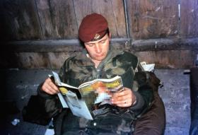 Cpl Ralph Griffin, 1 Para Provost Pln RMP (V), relaxing on exercise in Germany, 1970s.
