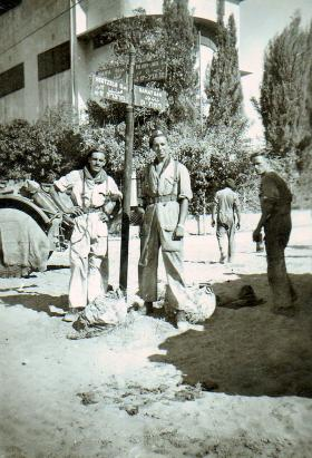 Two NCOs of 3rd King's Own Hussars at Ramat Gan crossroads, Palestine, September 1946.