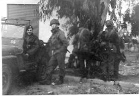 Members of 4th Para Bn searching for terrorists, Ramat Gan Palestine, November 1945.