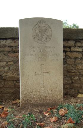 Headstone of Rifleman P Godsave, Ranville Churchyard, August 2010.