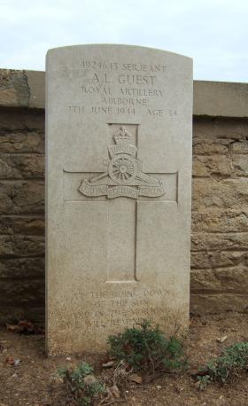 Headstone of L/Sgt Guest, Ranville Churchyard, August 2010.