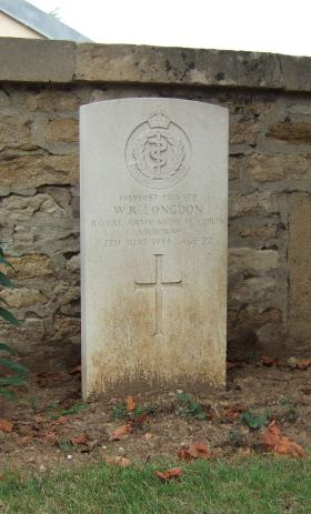 Headstone of Pte Longdon, Ranville Churchyard, August 2010.