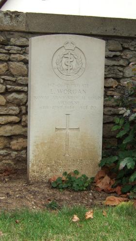 Headstone of Pte L Worgan, Ranville Churchyard, August 2010.