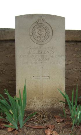 Headstone of Pte John Clements, Ranville Churchyard, August 2010.