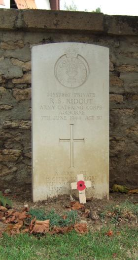 Headstone of Pte Robert Ridout, Ranville Churchyard, August 2010.