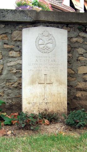Headstone of S/Sgt Alan Stear, Ranville Churchyard, August 2010.