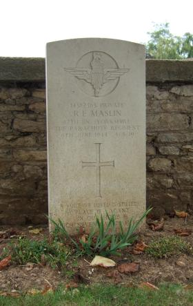 Headstone of Pte R Maslin, Ranville Churchyard, August 2010.